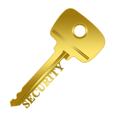 The Key Concept, Key to Security Present By Golden Key With Security Sign Isolated on White Background  photo