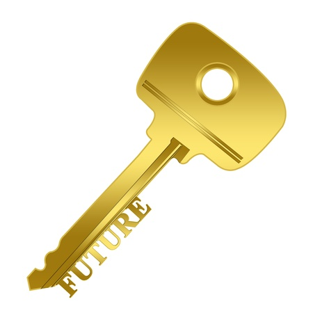 The Key Concept, Key to Future Present By Golden Key With Future Sign Isolated on White Background Stock Photo - 17609151