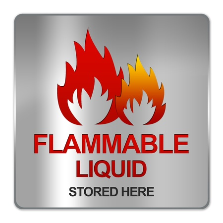 Square Silver Metallic Plate For Flammable Liquid Stored Here Isolated on White Background  Stock Photo - 17609157