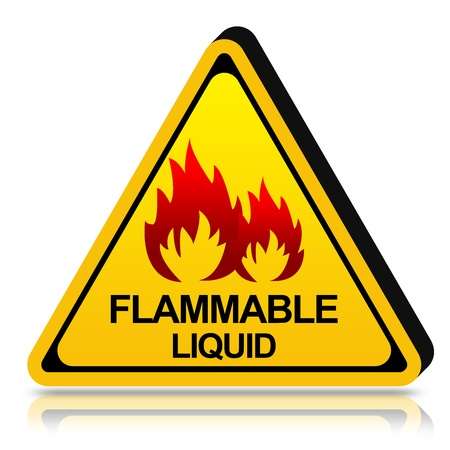 3d Yellow Triangle Flammable Liquid Stored Here Sign Isolated on White Background Stock Photo - 17609141