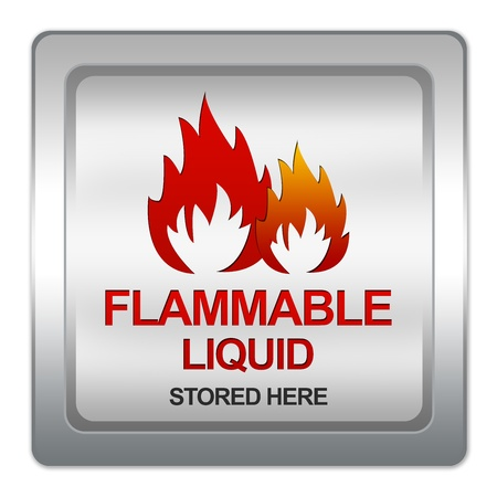 Silver Metallic Flammable Liquid Stored Here Sign Isolated on White Background Stock Photo - 17609162