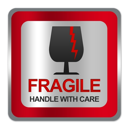 handle with care: Square Silver Metallic With Red Border Plate For Fragile Handle With Care Sign Isolated on White Background  Stock Photo