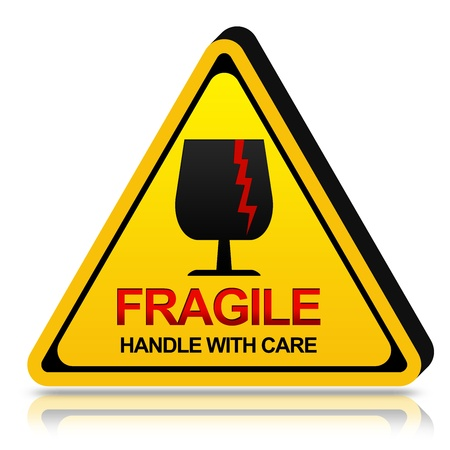 3d Yellow Triangle Fragile Handle With Care Sign Isolated on White Background Stock Photo - 17609137