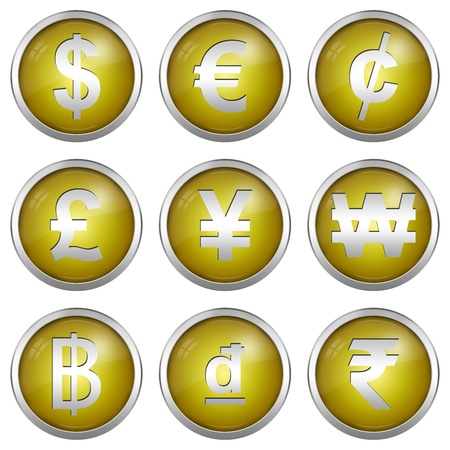 Collect Of Circle Glossy Yellow Icon With Silver Border Plate For Currency Symbols Isolated on White Background  Stock Photo - 17609191
