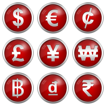 Collect Of Circle Glossy Red Icon With Silver Border Plate For Currency Symbols Isolated on White Background  photo