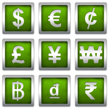 Currency Symbols Set on Square Green Metallic With Silver Border Plate Isolated on White Background photo
