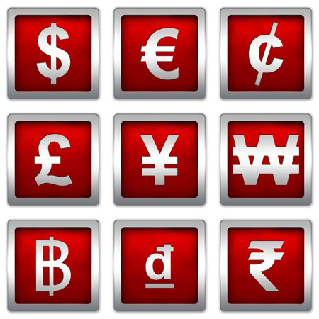Currency Symbols Set on Square Red Metallic With Silver Border Plate Isolated on White Background photo