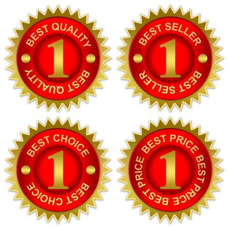 Red and Golden Metallic Sticker For Marketing Campaign With Best Quality, Best Seller, Best Choice and Best Price Isolated on White Background