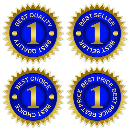 sellout: Blue and Golden Metallic Sticker For Marketing Campaign With Best Quality, Best Seller, Best Choice and Best Price Isolated on White Background