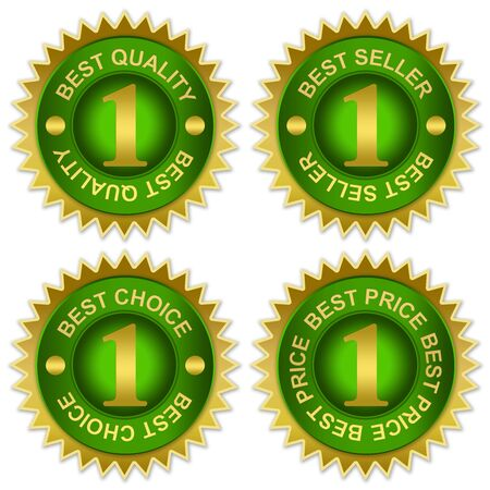 best seller: Marketing Campaign With Best Quality, Best Seller, Best Choice and Best Price on Green and Golden Metallic Sticker Isolated on White Background  Stock Photo