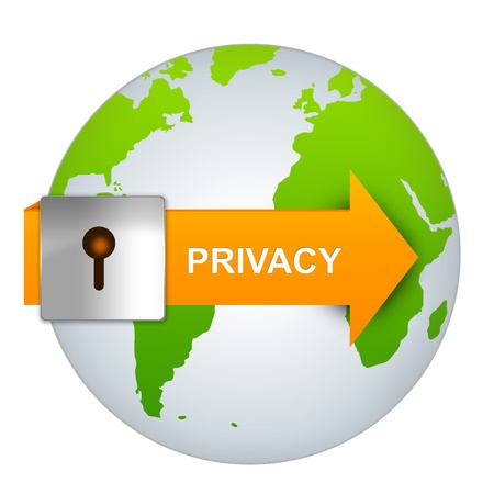 cyber defence: The Orange Privacy Arrow With Lock on The Globe Isolated on White Background Stock Photo