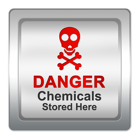 hazardous area sign: Silver Metallic Danger Chemicals Stored Here Sign Isolated on White Background Stock Photo