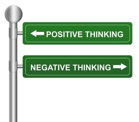 negative thinking: Vert Highway Street panneau indiquant la pens�e positive et la pens�e n�gative Pour Concept S�lection isol� sur fond blanc Banque d'images
