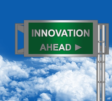 Green Metallic Highway Street Sign With Innovation Ahead For Idea Concept in Blue Sky Background Stock Photo