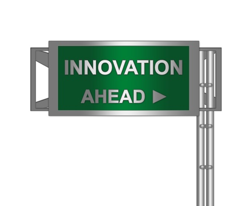 Catalyst: Idea Concept Present By Green Metallic Highway Street Sign With Innovation Ahead Isolated on a White Background