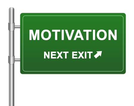 creative force: Idea Concept Present By Green Highway Street Sign With Motivation Next Exit Isolated on a White Background Stock Photo