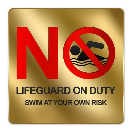 no diving sign: Gold Metallic Style Plate For No Lifeguard On Duty Swim At Your Own Risk Sign Isolated on a White Background