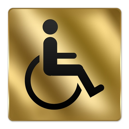 Gold Metallic Style Plate For Wheelchair Handicap Toilet Sign Isolated on a White Background photo