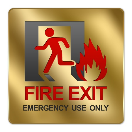 no correr: Oro met�lico estilo Plate For Fire Emergency Exit Use Only signo aislado en un fondo blanco