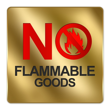 Gold Metallic Style Plate For No Flammable Goods Isolated on a White Background photo