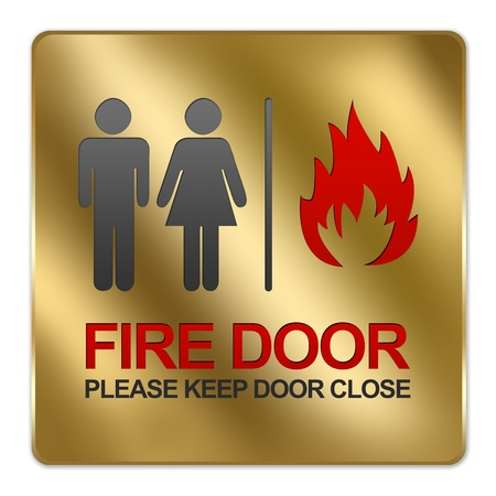 Gold Metallic Style Plate For Fire Door Please Keep Door Close Sign Isolated on a White Background photo
