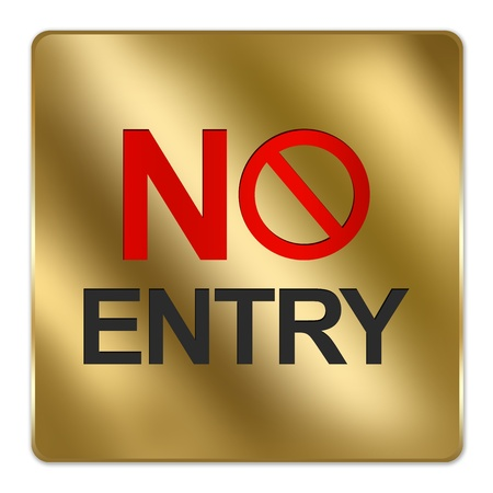 one lane street sign: Gold Metallic Style Plate For No Entry Sign Isolated on a White Background Stock Photo