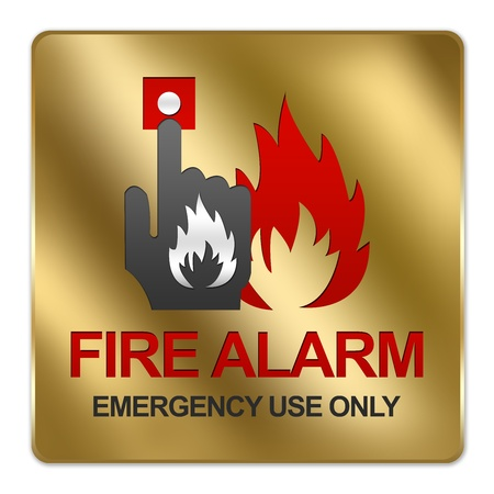 Gold Metallic Style Plate For Fire Alarm Emergency Use Only Sign Isolated on White Background photo