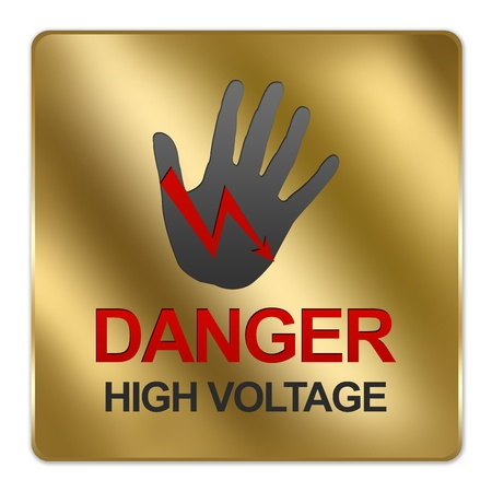 switchboard: Gold Metallic Style Plate For Danger High Voltage Sign Isolated on White Background