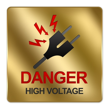 electroshock: Gold Metallic Style Plate For Danger High Voltage Sign With Plug and Voltage Sign Isolated on White Background