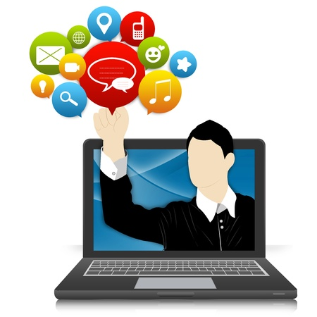 Social Network and Online Communication Concept Present by Computer Notebook With Businessman Pointing to Colorful Social Network Icon Isolate on White Background photo