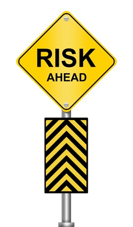Yellow Caution Road Sign With Risk Ahead Isolated on White Background photo