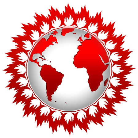 stop global warming: Graphic For Stop Global Warming Concept Present By Flame Around The Earth Isolate on White Background