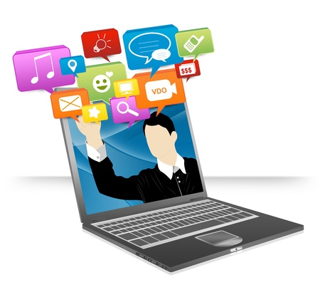 Computer Notebook With Businessman Pointing to Colorful Social Network Icon Isolate on White Background For Online and Internet Social Network Concept photo