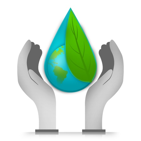 conservation: Save The Earth and Save The Water Concept Present By The Earth Cover By Green Leaf Inside The Water Drop Over The Hand Isolated on White Background Stock Photo