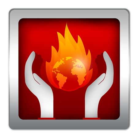 stop global warming: Stop Global Warming Campaign Present With The Burned Earth Over The Hand On Red Metallic Style Icon Isolated on White Background Stock Photo