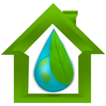 save water: Save The Earth and Save The Water Concept Present By The Earth Cover By Green Leaf in The Water Drop Inside The House Isolated on White Background