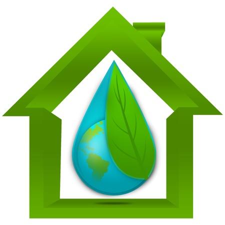 ahorrar agua: Save The Earth y guardar el concepto de agua presente por la cubierta de tierra de la hoja Por Green en el agua de la gota dentro de la casa aislada en el fondo blanco Foto de archivo