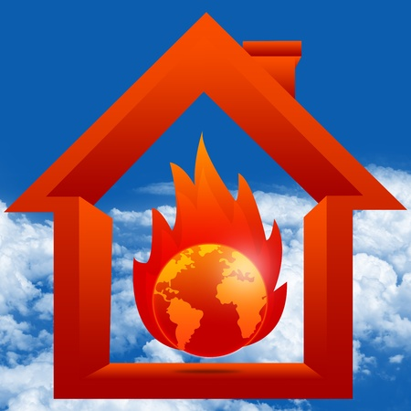 green house effect: Graphic For Stop Global Warming and Green House Effect Concept Present By The Burned Earth Inside The House in Blue Sky Background Stock Photo