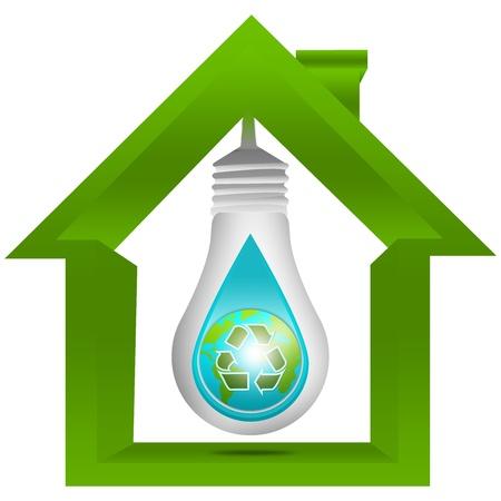 ahorrar agua: Ahorre el agua y guardar el concepto de energ�a presente por la bombilla con la tierra y el signo verde recicla en la gota de agua dentro de la casa aislada en el fondo blanco Foto de archivo