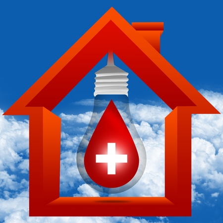 Graphic For Blood Donation Concept Present By The Light Bulb and Red Blood Drop With White Cross Sign Inside The House in Blue Sky Background photo