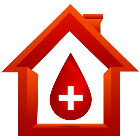 blood vessels: Blood Donation Concept Present By Red Blood Drop With White Cross Sign Inside The House Isolated on White Background