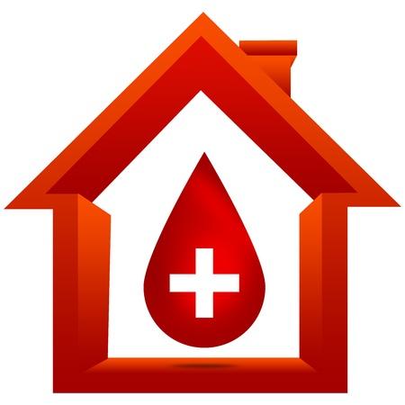 vasos sanguineos: Donación de sangre Concepto Presente Por gota de sangre roja con la cruz blanca en blanco dentro de la casa aislada en el fondo blanco Foto de archivo