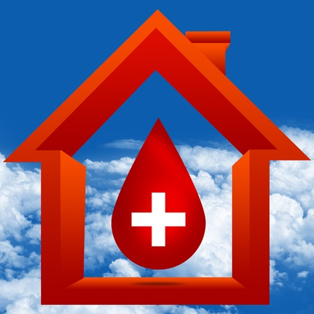 transfuse: Graphic For Blood Donation Concept Present By Red Blood Drop With White Cross Sign Inside The House in Blue Sky Background