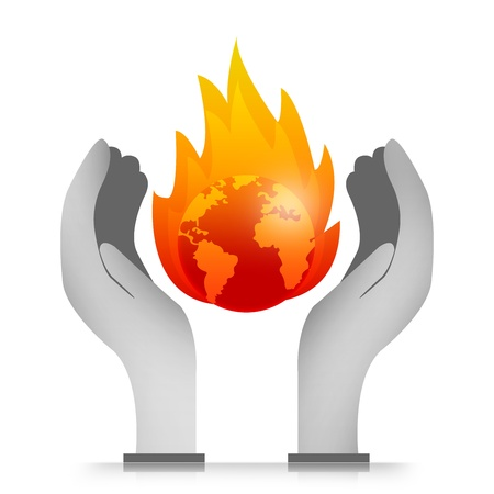 stop global warming: Graphic For Stop Global Warming and Save The Earth Concept Present With The Burned Earth Over The Hand