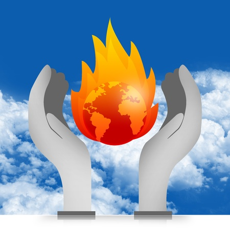 stop global warming: Graphic For Stop Global Warming and Save The Earth Concept Present With The Burned Earth Over The Hand in Blue Sky Background