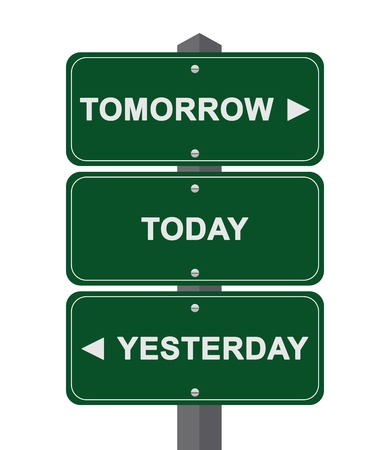 Time Management Concept Present By Green Street Sign Pointing to Tomorrow Reklamní fotografie