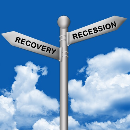 Concept of Selection, Silver Metallic Street Sign Pointing to Recession and Recovery in Blue Sky Background photo