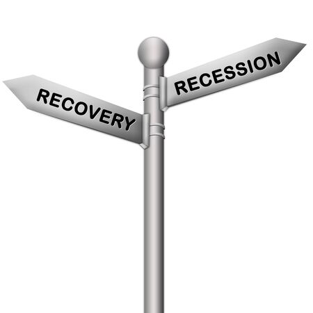 Concept of Selection Present By Silver Metallic Street Sign Pointing to Recession and Recovery Isolated On White Background photo