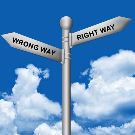 2 way: Concept of Selection, Silver Metallic Street Sign Pointing to Right Way and Wrong Way in Blue Sky Background