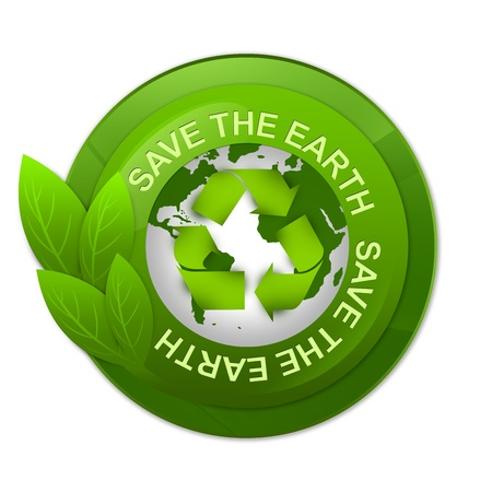 Green Glossy Style Save The Earth Label With Earth and Recycle Sign Inside Isolated on White Background photo